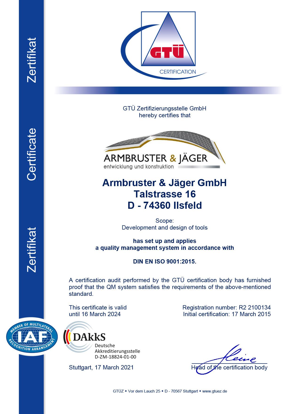 Zertifikat A&J